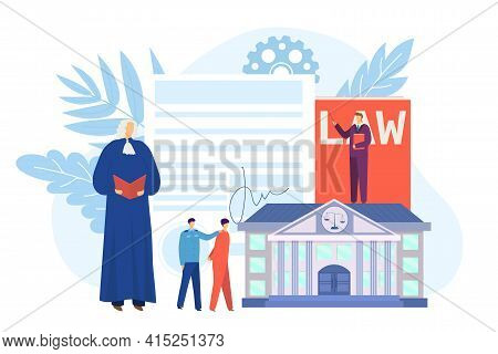 Law Court With Legal Judge Concept, Vector Illustration. Lawyer Judge Person Character Work For Atto