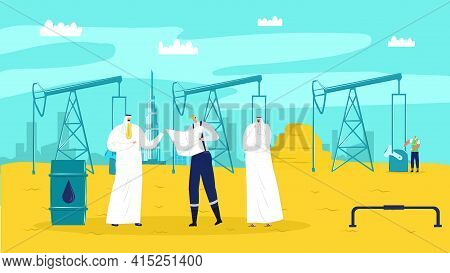 Businessman Arabic People At Oil Industry, Flat Business Concept Vector Illustration. Man Person Cha