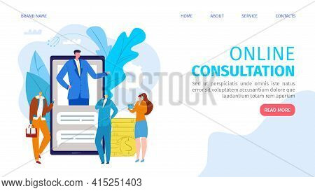 Online Consultation At Smartphone, Vector Illustration. Man Woman Person Charcater Use Business Cons