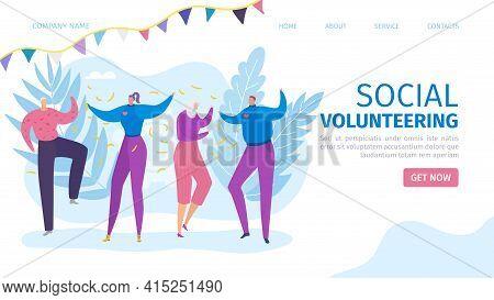 Social Volunteering, Happy Volunteer Team Vector Illustration. Charity Donation For Care Assistance