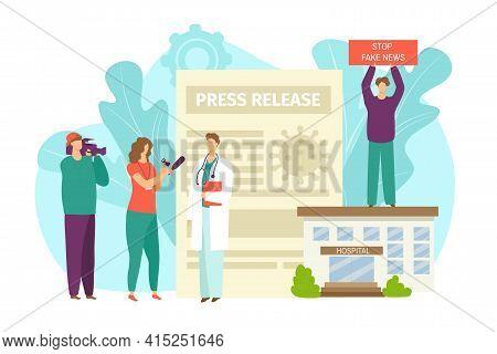 Medical News About Coronovirus, Quarantine, Vector Illustration. Global Virus, Flu, Disease Flat Inf