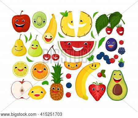 Cartoon Smiling Fruit Berries Collection, Vector Illustration. Cleansing Body With Natural Organic P
