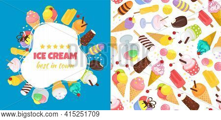 Ice Cream Banner Set, Best In Town Food, Vector Illustration. Delicious Cartoon Frozen Dairy Product
