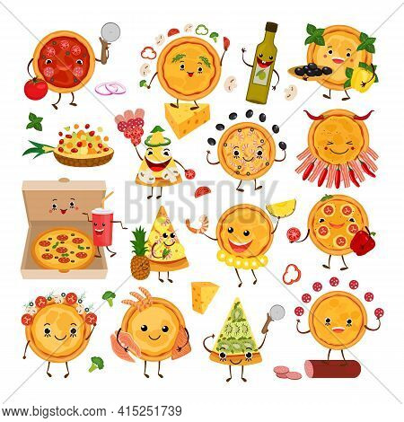 Pizza Characters Funny Elements For Pizzeria Set, Vector Illustration. Delicious Dinner With Tasty P