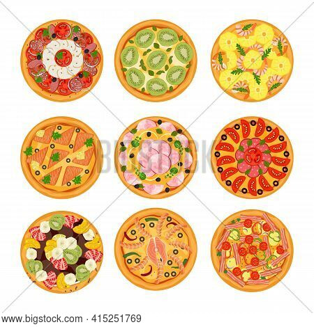 Delicious Pizza Collection With Vegetables, Sausage And Mozzarella Vector Illustration. Hot Fresh Di