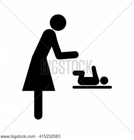 Changing Table Symbol On White Background. Mom Swaddles The Baby. A Woman Is Changing Clothes For A