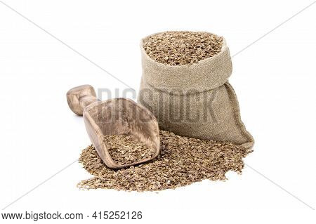 Dill In A Sack Of Isolated On A White Background. Fennel. Dill In A Burlap Sack. Healthy Food. Dill