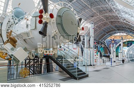Moscow, Russia - November 28, 2018: Space museum. Inside The Cosmonautics and Aviation Centre in the Cosmos pavilion of VDNH. Aircraft exhibition. Rocket science.