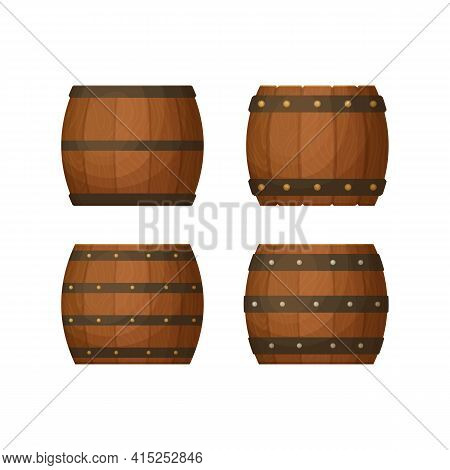 Collection Of Old Kegs With Wooden Texture. Various Hoop Configurations.  Cask For Whiskey, Wine Or
