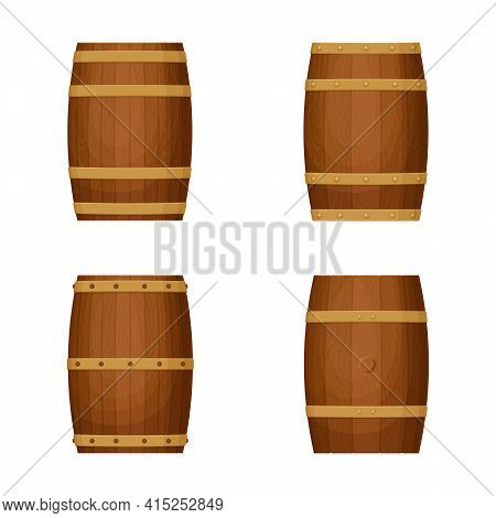 Collection Of Old Barrels With Wooden Texture. Various Hoop Configurations.  Cask For Whiskey, Wine