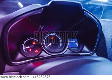 Novosibirsk, Russia - April 01 2021: Lada Xray, Car Panel, Digital Bright Speedometer, Odometer And