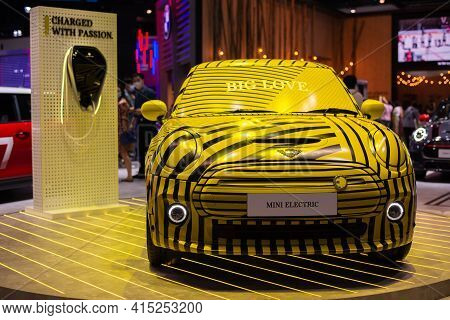 Nonthaburi, Thailand - March 25,2021 : View Of Mini Electric - Full Electric Hatchback Yellow Color