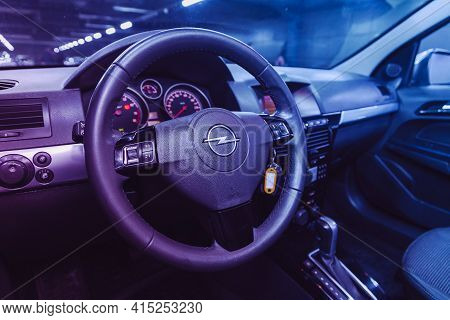Novosibirsk, Russia - April 01 2021: Opel Astra, Interior Of New Modern Suv Car With Automatic Trans