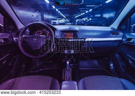 Novosibirsk, Russia - April 01 2021: Opel Astra,  Steering Wheel, Shift Lever, Multimedia  Systeme,
