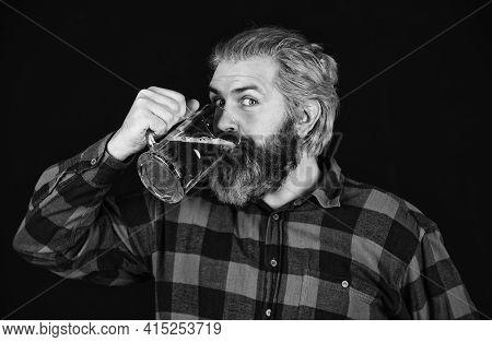 Having Fun. Brutal Bearded Man Drink Beer. Beer Pub. Bartender Bar. Alcohol Beverage. Modern Hipster