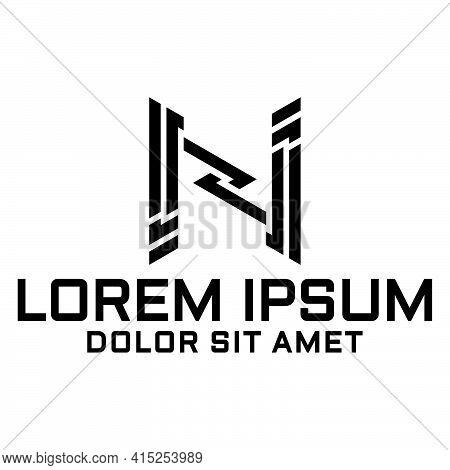 Initial Letter N Logo Template In Flat Design Monogram Illustration