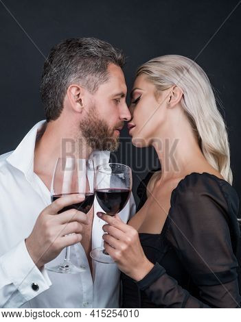 Sexy Couple In Love Of Woman And Man With Wine Glass Kiss And Celebrate Spacial Occasion, Proposal