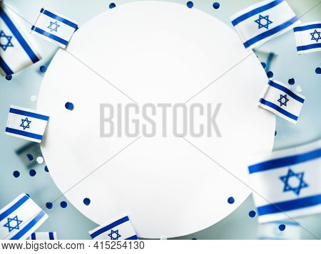 Israel. Independence Day. National Flag On A White Foggy Background. The Concept Of Freedom, Memory