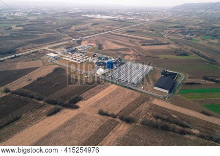 Water Treatment Facility. Waste Water Being Recycled Into Fuel. Aerial Drone Shot. Agricultural Fiel
