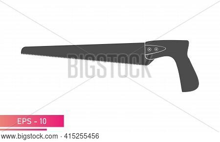 A Small Handy Saw For A Carpenter. Solid Design. On A White Background. Carpenter Tools. Flat Vector