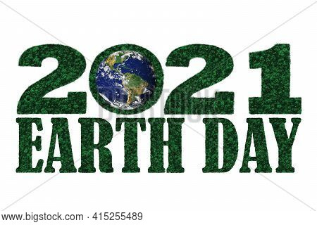 Earth Day Year 2021 In The Shape Of Forest Tree Top Aerial View With Blue Earth.  Elements Of This I