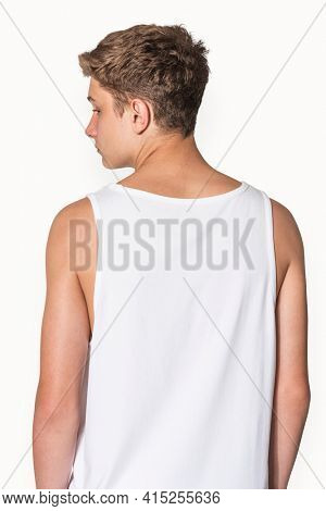 Men's white tank top for teen's summer apparel shoot with design space