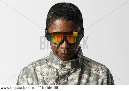 Female soldier wearing smart glasses military technology
