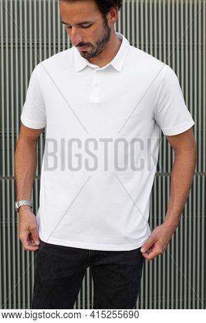 Menswear polo shirt white casual apparel outdoor shoot
