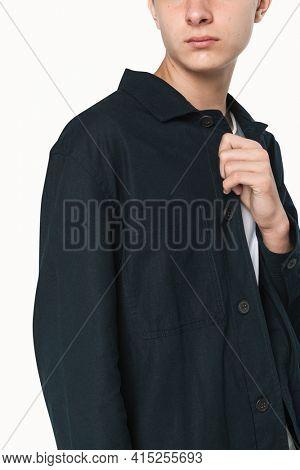 Basic dark blue shirt for boy  teen  apparel studio shoot