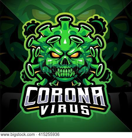 Corona Virus Esport Mascot Logo Design With Text