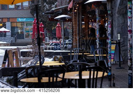 Whistler, Bc, Canada - Feb 18, 2021: Whistler Village Empty Restaurant Patio The Covid 19 Pandemic