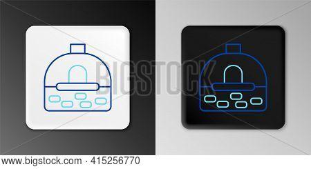 Line Brick Stove Icon Isolated On Grey Background. Brick Fireplace, Masonry Stove, Stone Oven Icon.c