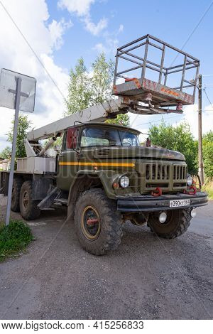 Russia - July 24, 2020. Tver Region, Russia. A New Zil Truck With A Lift. A Car Lift Based On Zil Fo