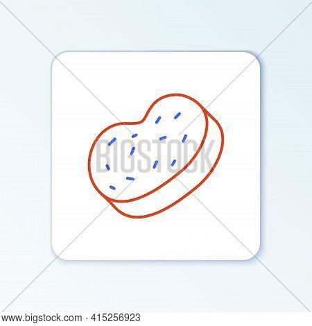 Line Bath Sponge Icon Isolated On White Background. Sauna Sponge. Colorful Outline Concept. Vector