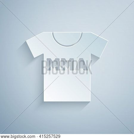 Paper Cut T-shirt With Fight Club Mma Icon Isolated On Grey Background. Mixed Martial Arts. Paper Ar