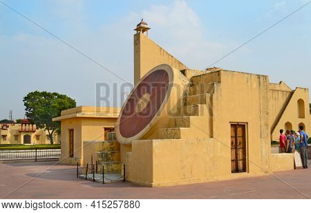 JAIPUR, INDIA - NOVEMBER 2, 2015: Jantar Mantar Monument. A collection of architectural astronomical instruments, including the worlds largest stone sundial.