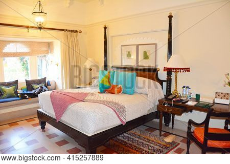UDAIPUR, INDIA - JANUARY 21, 2017: Room at the Oberoi Udaivilas Hotel. Located on the bank of Lake Pichola the hotel has over fifty acres, which includes a twenty-acre wildlife sanctuary.