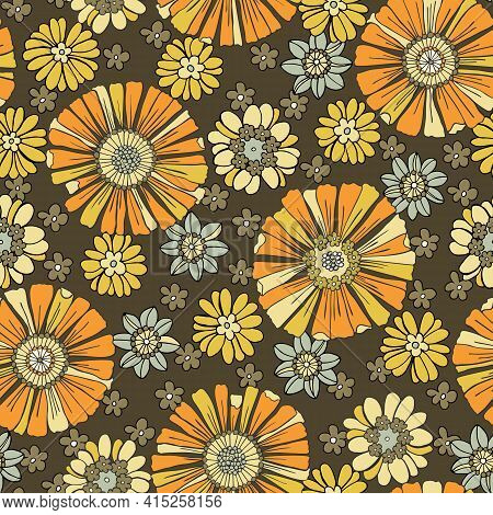Colorful Large Scale Hand-drawn Floral Vector Seamless Pattern. Retro 70s Style Nostalgic Fashion Te
