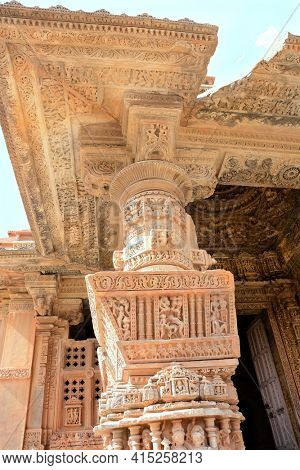 UDAIPUR, INDIA - JANUARY 14, 2017: Sas Bahu Temple carvings detail. The remains, also known as, the Sahastra Bahu temples of the early 10th century AD are dedicated to Vishnu.