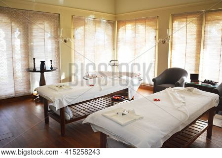 UDAIPUR, INDIA - JANUARY 21, 2017: Spa Room at the Oberoi Udaivilas Hotel. Located on the bank of Lake Pichola the hotel has over fifty acres, which includes a twenty-acre wildlife sanctuary.