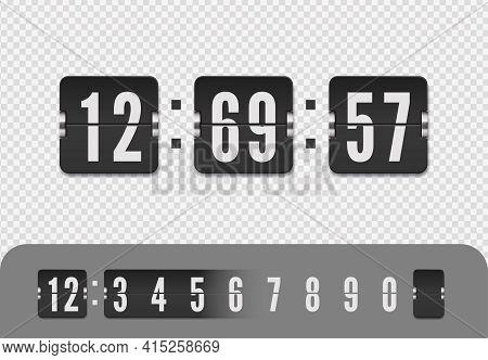 Vintage Flip Clock Time Counter. Flip Countdown Number. Vector Illustration Template. Scoreboard Num