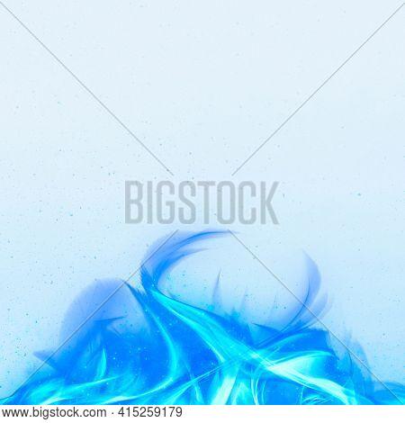 3D blue fire flame border frame
