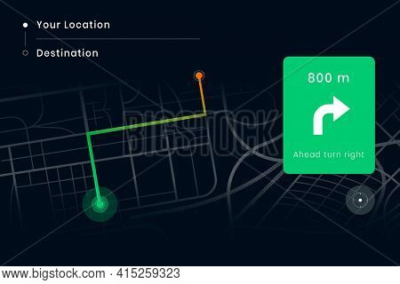 Car navigation map screen from your location to destination