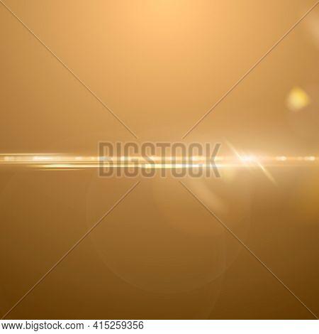 Gold anamorphic lens flare background