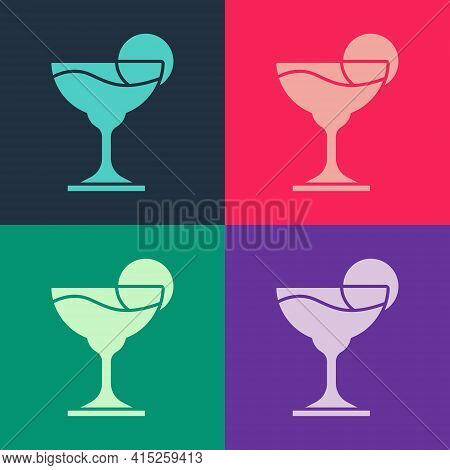Pop Art Margarita Cocktail Glass With Lime Icon Isolated On Color Background. Vector