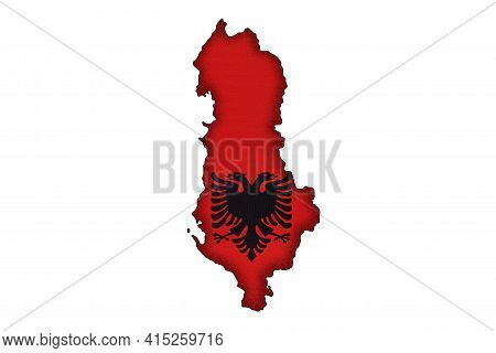 Albania Border Silhouette With National Flag Isolated On White Background With Copy Space. Contour O