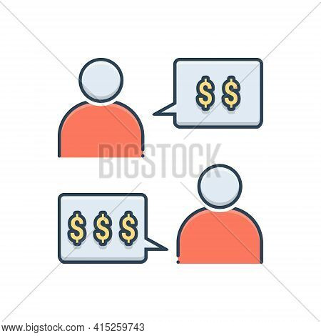 Color Illustration Icon For Negotiation Conversation Discussion Agreement Debate Price