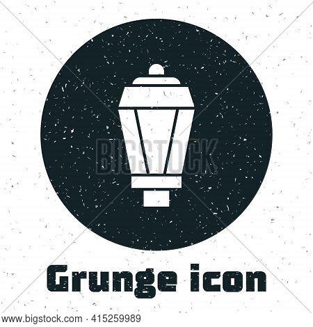 Grunge Garden Light Lamp Icon Isolated On White Background. Solar Powered Lamp. Lantern. Street Lamp