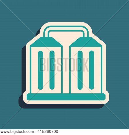 Green Granary Icon Isolated On Green Background. Silo With Grain, Elevator, Granary, Factory. Wareho