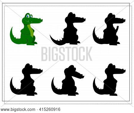 A Puzzle Game For Preschool Children. Find The Right Shadow. Crocodile Cartoon. Silhouette. Vector I